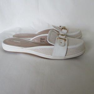Lands' End Ivory Shimmer Buckle Mule Shoes 8